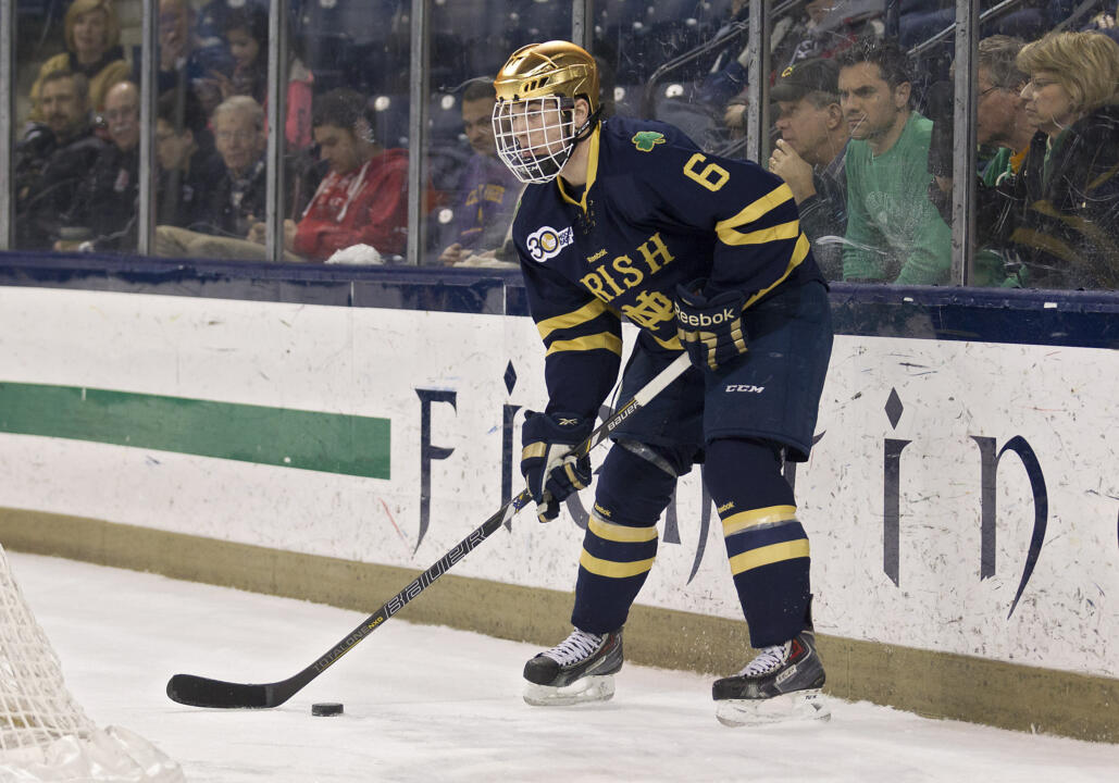 Junior defenseman Andy Ryan and his Notre Dame teammates battle Lake Superior State Oct. 17-18 at the Compton Family Ice Arena.
