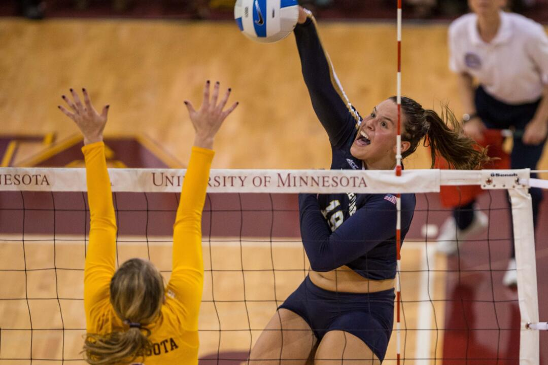 Senior Jeni Houser led the Irish in kills (7), service aces (2) and blocks (3) in Friday night's loss to Clemson.