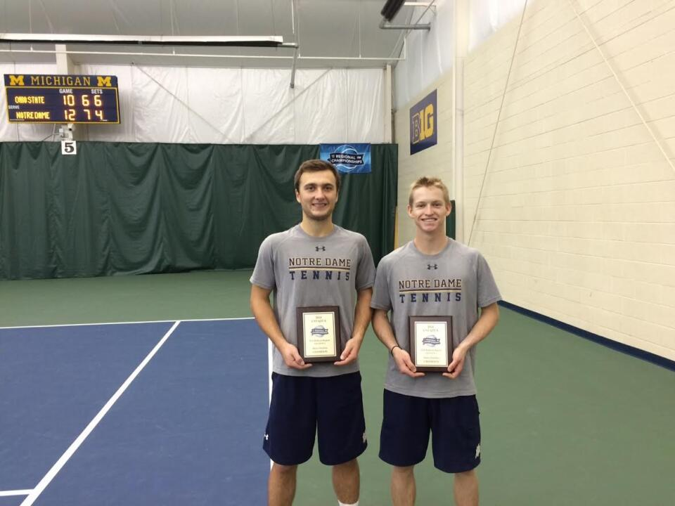 Josh Hagar and Eddy Covalschi beat the top two seeds to win the USTA/ITA Midwest Regional Doubles Championship on Monday. They will head to the ITA Indoor National Championships in two weeks