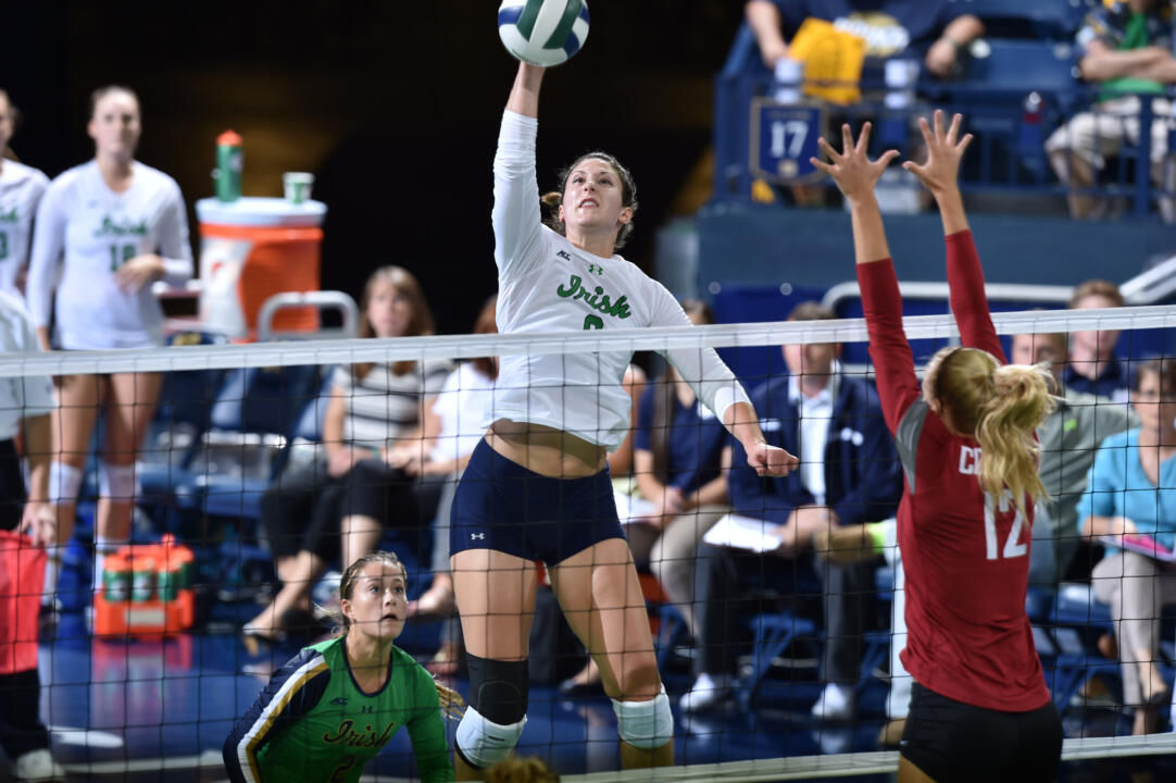 Grad student Nicole Smith led the Irish with seven kills against Virginia Tech.