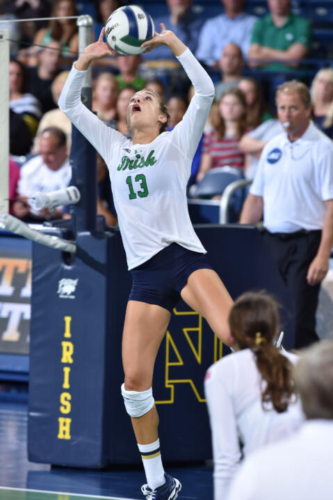 Setter Hanna Muzzonigro posted a career-high 54 assists to go along with 16 digs and seven kills in Saturday night's 3-2 loss to Virginia.