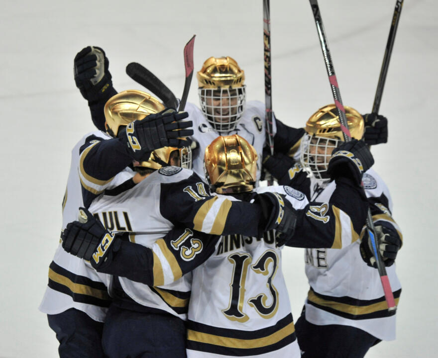 The Irish celebrate Vince Hinostroza's first-period power-play goal.