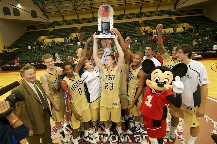 Former Irish guard Ben Hansbrough and the Irish hoisted the championship trophy in 2010.