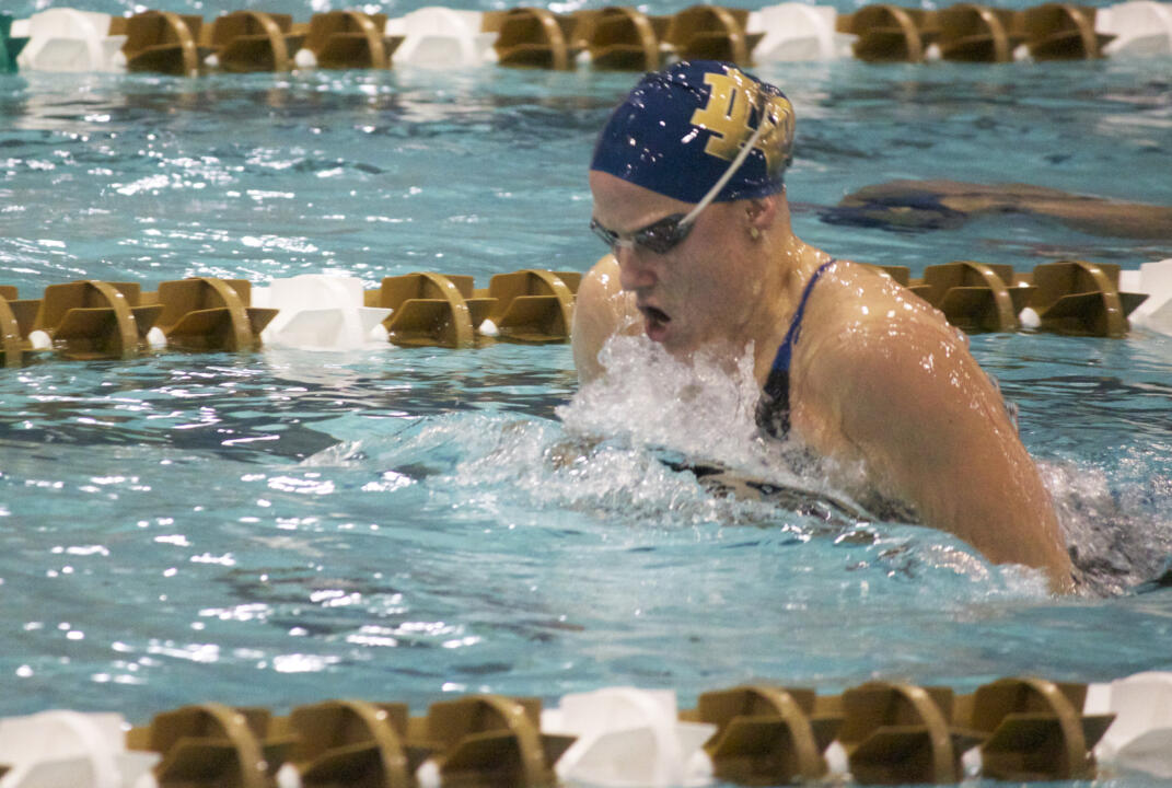 Senior Emma Reaney won both breaststroke events and swam a leg of the victorious 200 medley relay squad Saturday against No. 24 Purdue.