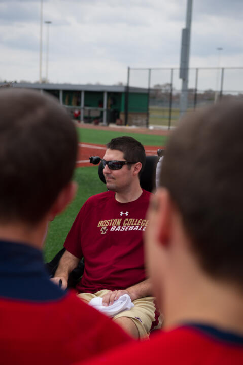 Pete Frates spoke with the Irish team last April before Notre Dame played Boston College.