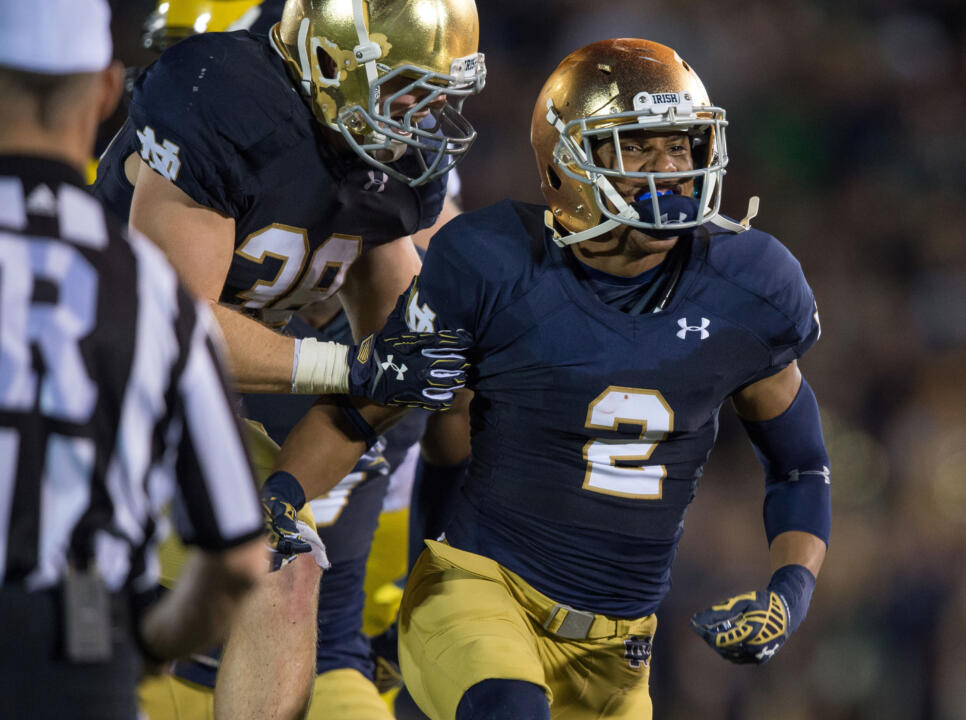 Defensive back Cody Riggs, a graduate student and transfer from the University of Florida, has fit right in at Notre Dame.