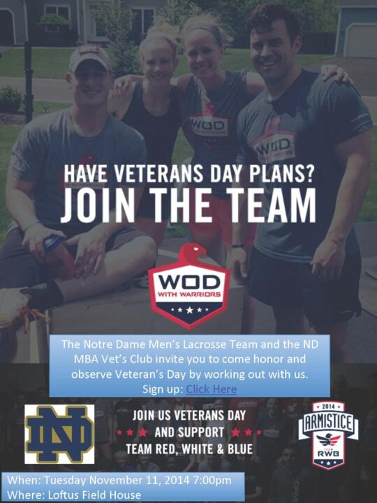 The WOD with Warriors Armistice will be held from 7-8:30 p.m. (ET) on Tuesday inside the Loftus Sports Center.