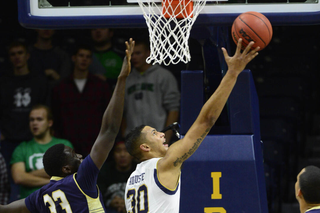Zach Auguste shoots the ball during the first half.