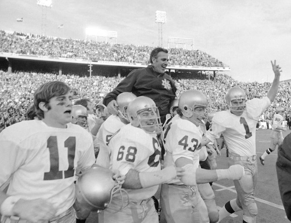 Fighting Irish head coach Ara Parseghian is carried off the field following his team's stunning 24-11 victory over top-ranked Texas in the 1971 Cotton Bowl - Notre Dame's first bowl win since 1925.