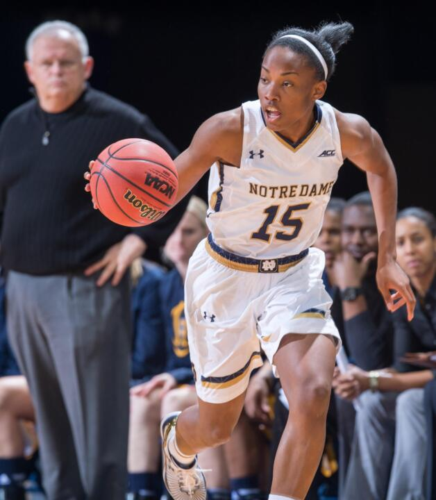 Sophomore guard Lindsay Allen piloted a Notre Dame offense that shot .603 from the field (.760 in the first half), with Allen ringing up 11 points and a game high-tying six assists (one turnover) in 20 minutes of action.
