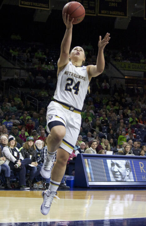 Junior guard Hannah Huffman scored a career-high 12 points as #2 Notre Dame defeated Harvard, 97-43 on Monday night in the Hall of Fame Challenge at Purcell Pavilion.