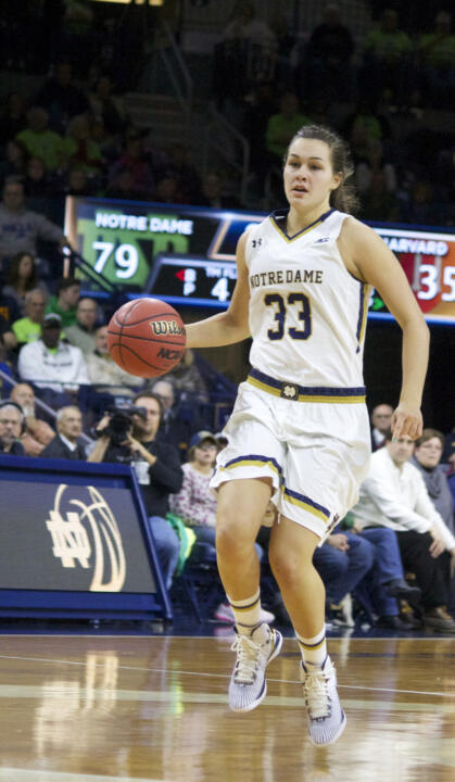 Freshman forward Kathryn Westbeld recorded her first career double-double with 10 points and a career-high 12 rebounds in Notre Dame's 112-52 win over Quinnipiac Tuesday night at Purcell Pavilion.