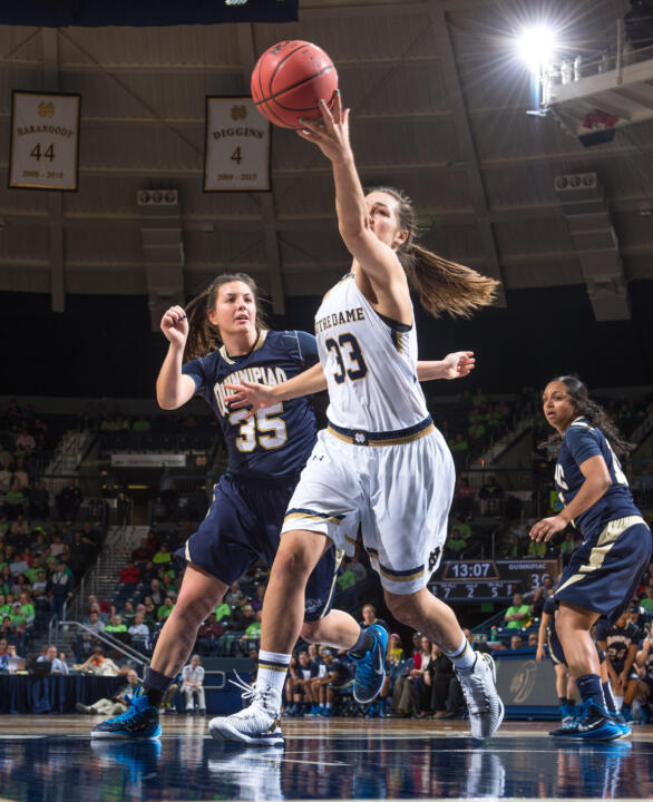 Freshman forward Kathryn Westbeld recorded her first career double-double with 10 points and a career-high 12 rebounds in Notre Dame's 112-52 win over Quinnipiac Tuesday night.