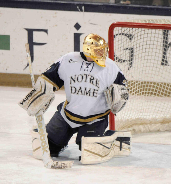 Irish goaltender made a career-high 35 saves in the 3-2 overtime loss to Union College.