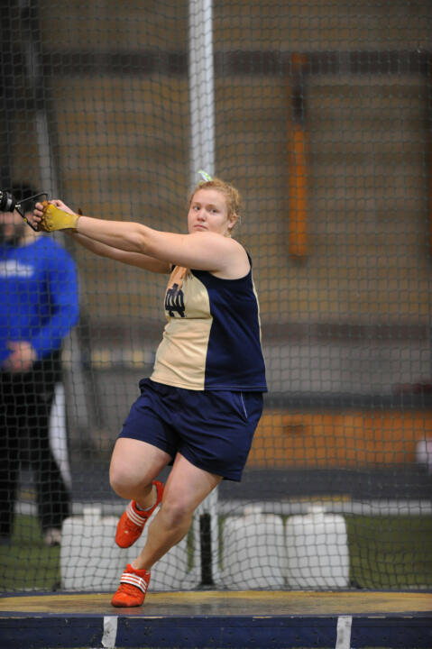 Emily Morris (shown in the weight throw) set the Notre Dame women's indoor record in the shot put at the Blue & Gold Invitational on Friday.