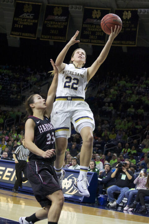 Senior guard Madison Cable posted her first career double-double (20 points/11 rebounds) in Notre Dame's 94-93 overtime win at 25th-ranked DePaul Wednesday night.