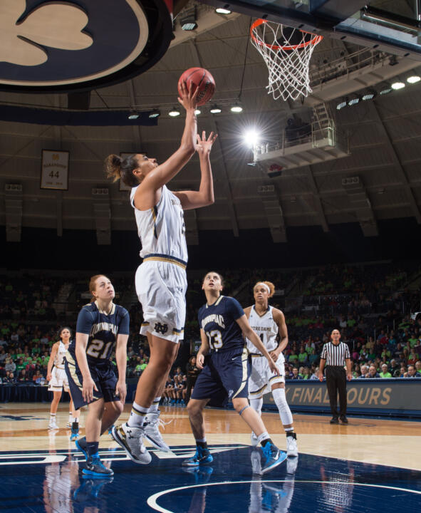Sophomore forward Taya Reimer scored a career-high 21 points on seven of nine shooting from both the field and free-throw line in Notre Dame's 92-72 win over #15/10 Maryland Wednesday night in Fort Wayne, Indiana.