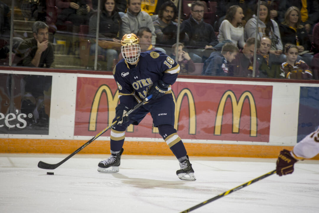 Freshman Jake Evans scored two goals and dished out an assist in Notre Dame's 3-2 win over No. 6 Miami University Sunday night.