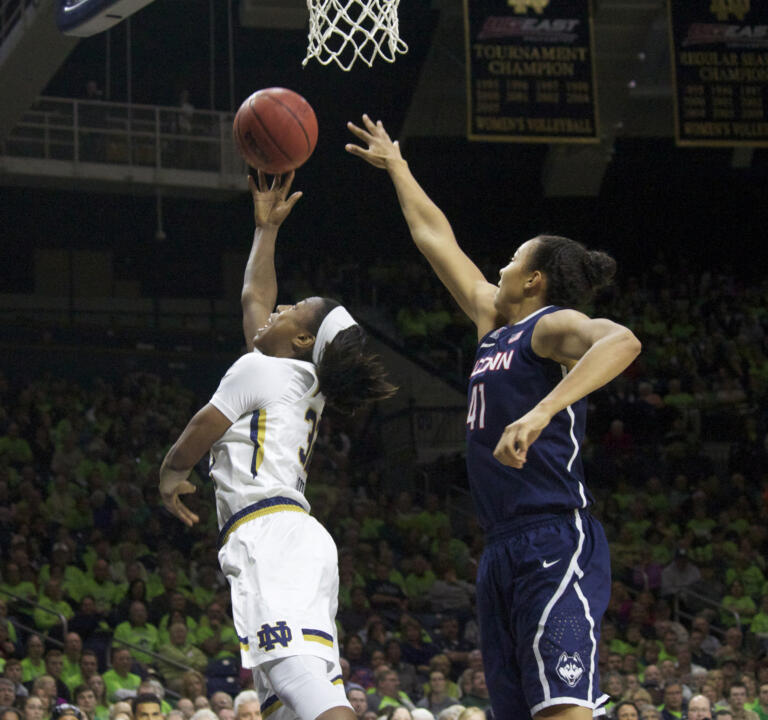 Junior guard Jewell Loyd tied her career highs with 31 points and four steals in Notre Dame's 76-58 loss to UConn Saturday afternoon at Purcell Pavilion.