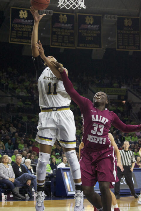 The return of 6-foot-3 freshman forward Brianna Turner played a key role in Notre Dame's renewed intensity on defense in its 64-50 win over Saint Joseph's Sunday afternoon at Purcell Pavilion.