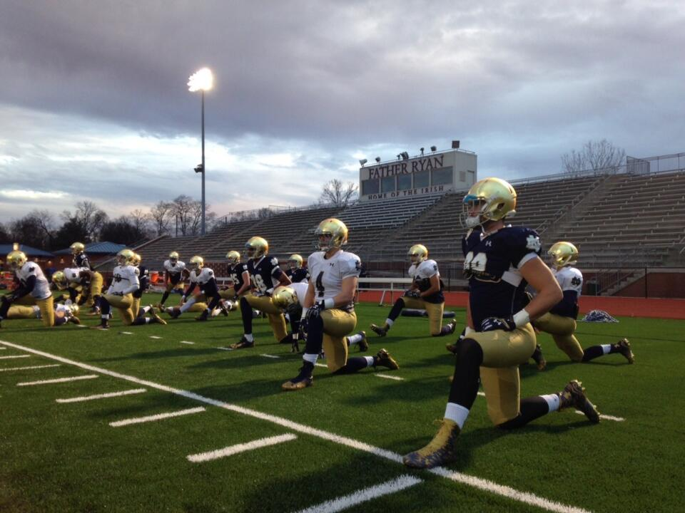 Suffice to say the Irish felt right at home practicing at Nashville's Father Ryan High School,
