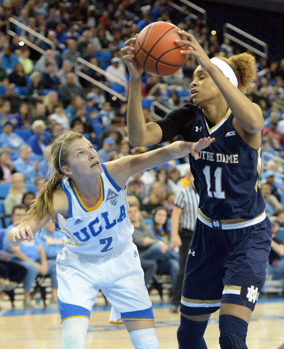 Freshman forward Brianna Turner posted her first career double-double with 14 points, a career-high 16 rebounds and a career high-tying five blocks in Notre Dame's 82-67 win at UCLA Sunday afternoon.