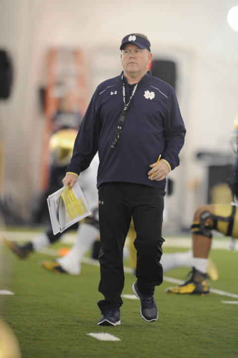 Brian Kelly kept a mindful eye on Sunday's practice at the Tennessee Titans' indoor facility.
