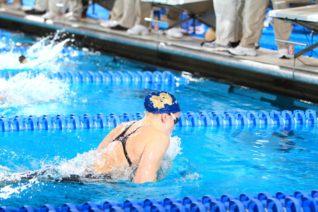 Senior Emma Reaney begins her final semester with the Irish Saturday at Michigan.