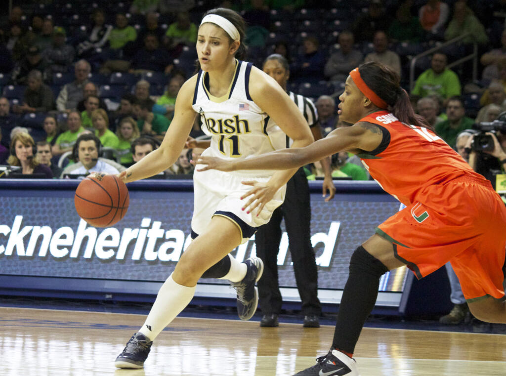 Natalie Achonwa ('14), a two-time All-America forward who helped lead Notre Dame to a 138-15 (.902) record and four consecutive NCAA Women's Final Fours during her career, will represent the Fighting Irish as part of the 2015 ACC Women's Basketball Legends Class announced Tuesday.