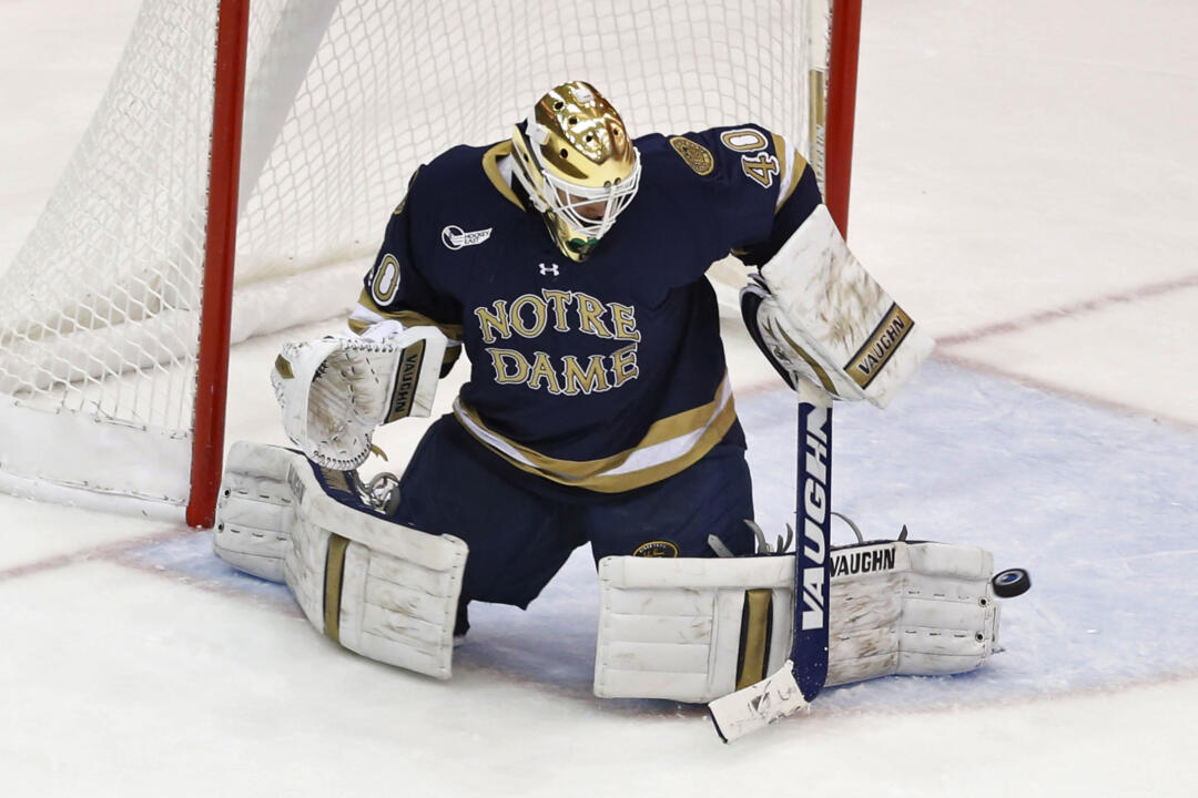 Cal Petersen made 37 saves in the Notre Dame net on Friday night.