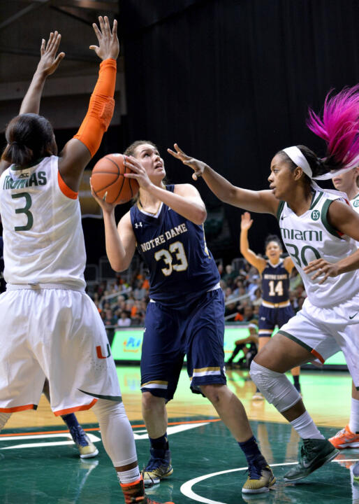 Freshman forward Kathryn Westbeld had five points, eight rebounds and a career high-tying four assists in Notre Dame's 78-63 loss at Miami Thursday night.