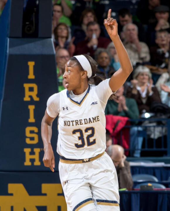 Jewell Loyd scored a game-high 34 points (her third 30-point game of the year, all against ranked opponents) to lead #6/7 Notre Dame to an 88-77 win over #5/6 Tennessee Monday night at Purcell Pavilion.