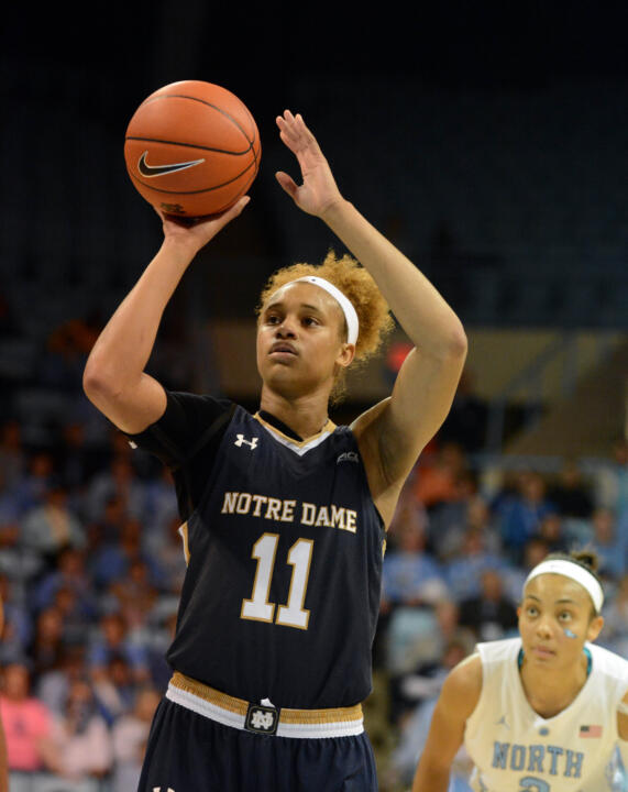 Brianna Turner posted career highs of 29 points, 18 rebounds and seven blocks in Notre Dame's 89-79 win at #12/10 North Carolina Thursday night.