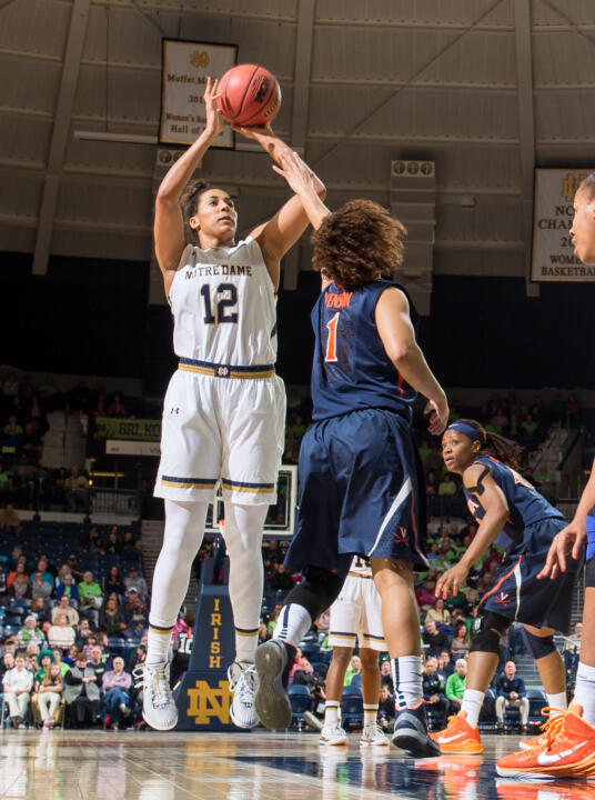 Sophomore forward Taya Reimer (pictured earlier this month against Virginia) turned in the best shooting night of the season by any ACC player on Monday night, making all eight of her field-goal attempts and scoring 16 points in Notre Dame's 68-52 win over No. 8/7 Louisville at Purcell Pavilion.