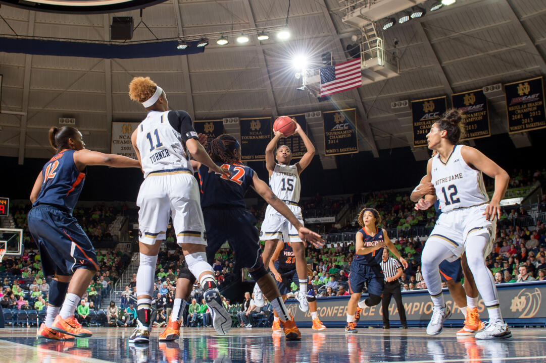 Sophomore guard Lindsay Allen continued her steady play with 12 points, six rebounds and four assists in Notre Dame's 75-54 win over Virginia Thursday night at Purcell Pavilion.
