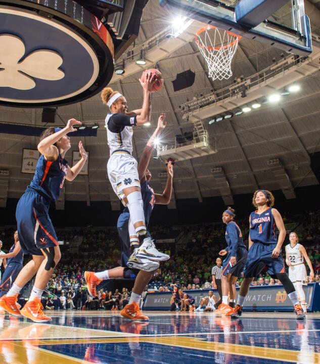 Brianna Turner collected her sixth double-double of the season with a game-high 26 points and 13 rebounds in Notre Dame's 75-54 win over Virginia Thursday night at Purcell Pavilion.