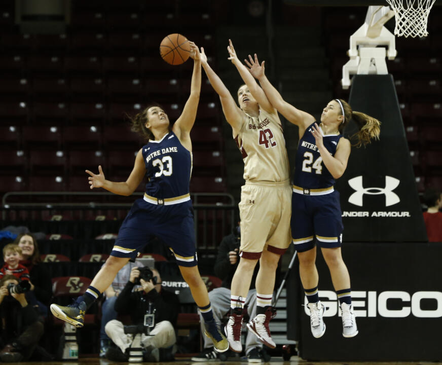 Freshman forward Kathryn Westbeld (33) and junior guard Hannah Huffman (24) were part of a Notre Dame reserve unit that outscored its Boston College counterpart, 31-7 on Sunday afternoon.