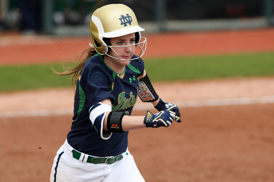 Freshman Morgan Reed roped a two-run single in Notre Dame's 8-6 win over Maryland on Thursday at the Mary Nutter Collegiate Classic