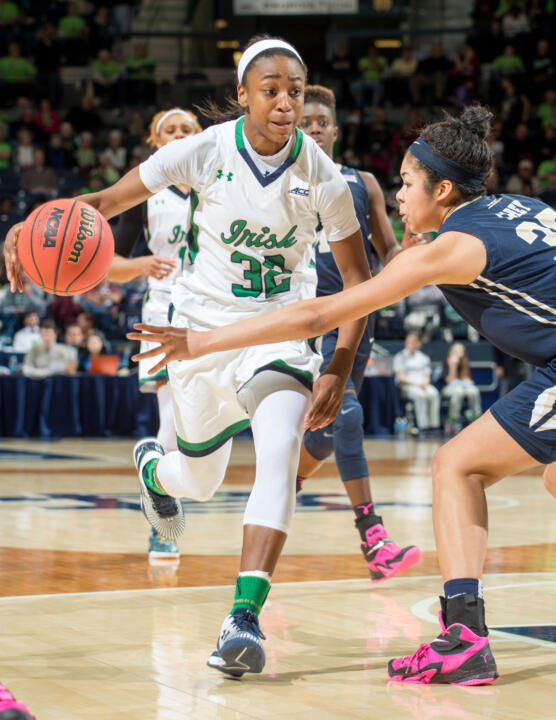Jewell Loyd led five Notre Dame players in double figures with 16 points as the Fighting Irish clinched a share of the ACC regular season title on Thursday with an 87-59 win over Pittsburgh at Purcell Pavilion.