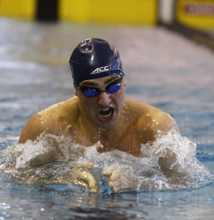 Matt DeBlasio was one of four swimmers that earned points for the Irish Friday in the 400 IM.