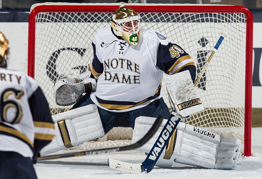 Cal Petersen set an NCAA record with 87 saves as Friday night turned into Saturday morning.