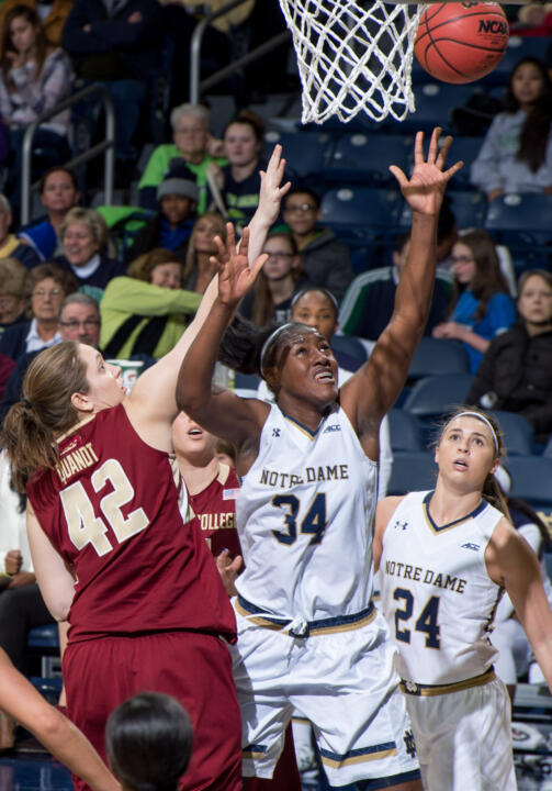 A leader on the floor and in the locker room, senior tri-captain Markisha Wright will join classmates Madison Cable and Whitney Holloway in playing their final home game in a Fighting Irish uniform Sunday night  in the second round of the NCAA Championship against DePaul.