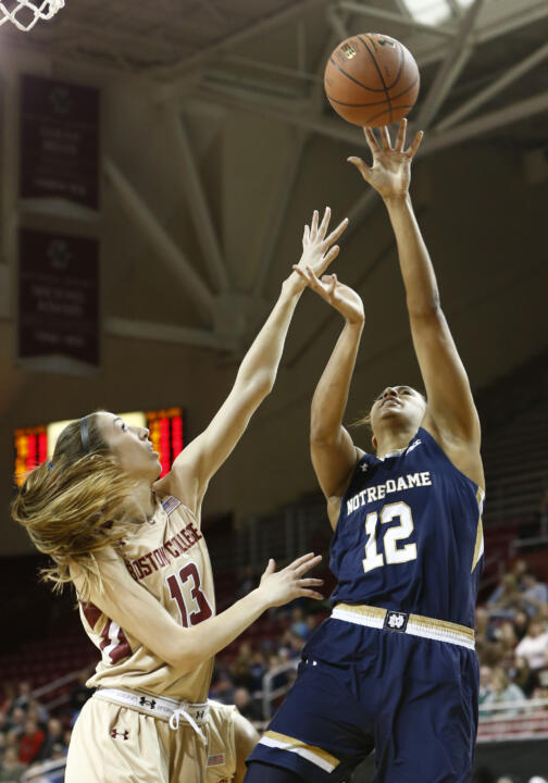 Sophomore forward Taya Reimer collected 13 points, five rebounds and three blocks in Notre Dame's 77-61 win over Miami in the ACC Tournament quarterfinals Friday afternoon in Greensboro, North Carolina.