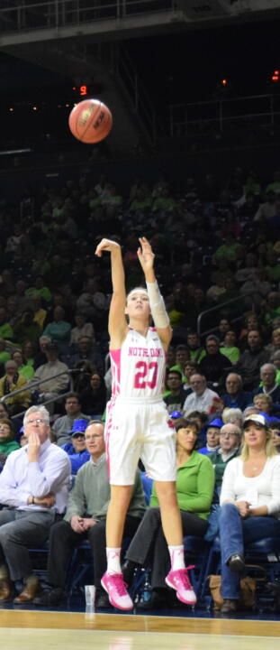 Junior guard/tri-captain Michaela Mabrey drilled three three-pointers in the first half, helping Notre Dame get out to a 14-2 lead in a 55-49 win over No. 16 Duke in the ACC Championship semifinal on Saturday in Greensboro, North Carolina.