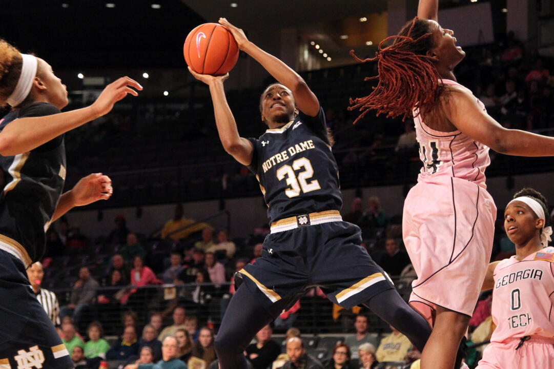 Jewell Loyd scored a game-high 16 points as Notre Dame clinched the outright ACC regular-season title with a 67-60 win at North Carolina State Sunday afternoon.