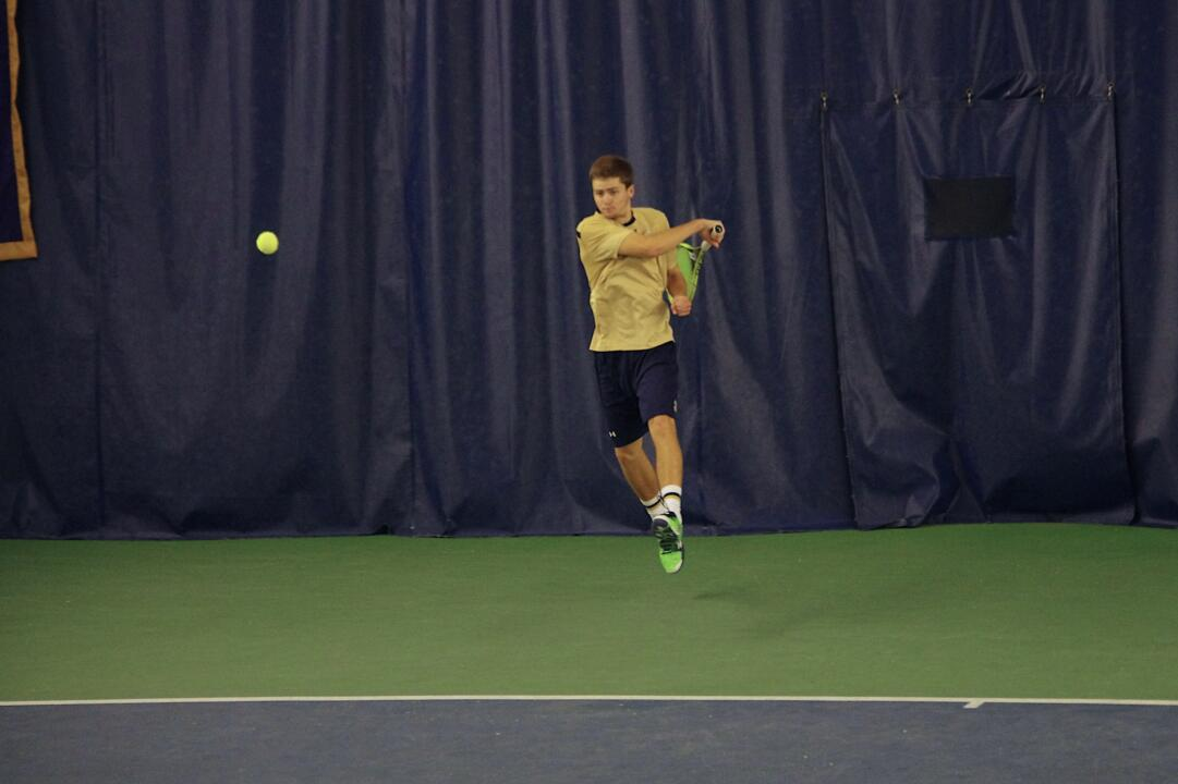 Junior Quentin Monaghan defeated No. 3 Ryan Shane at No. 1 singles, 7-6(4), 6-3.