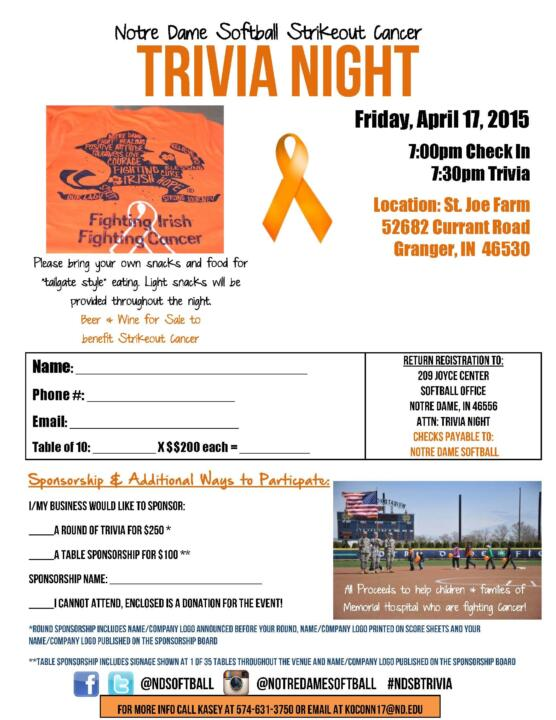 The Notre Dame softball Strikeout Cancer trivia night will be held at the St. Joe Farm in Granger on April 17