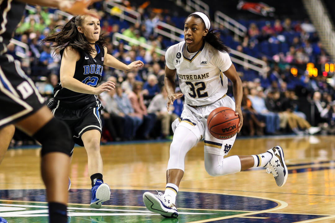 Jewell Loyd scored a game-high 21 points (14 in the second half) to help No. 2 Notre Dame ease past No. 16 Duke, 55-49 on Saturday in the ACC Championship semifinals in Greensboro, North Carolina.