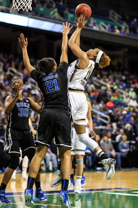Freshman forward Brianna Turner tallied eight points, 11 rebounds and three blocks in Notre Dame's 55-49 win over No. 16 Duke in Saturday's ACC Championship semifinal in Greensboro, North Carolina.