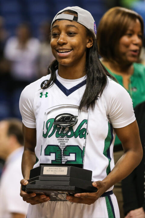Jewell Loyd was named the ACC Championship MVP for the second consecutive season after scoring 18 points and adding seven rebounds in Sunday's 71-58 win over #7/6 Florida State in the ACC title game in Greensboro, North Carolina.